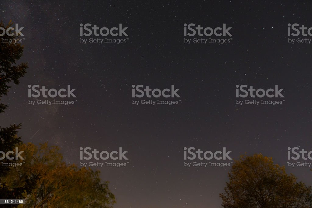 Starry sky with some shooting stars and milky way