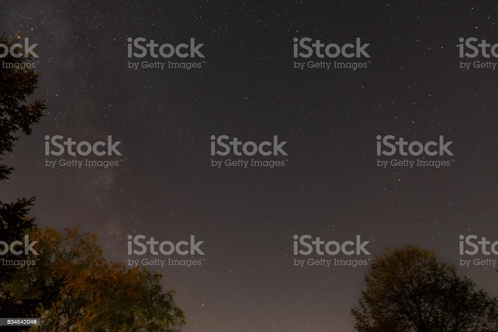 Starry sky with some shooting stars and milky way stock photo