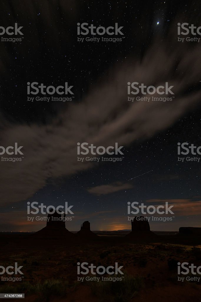 Stars above Monument Valley. USA stock photo