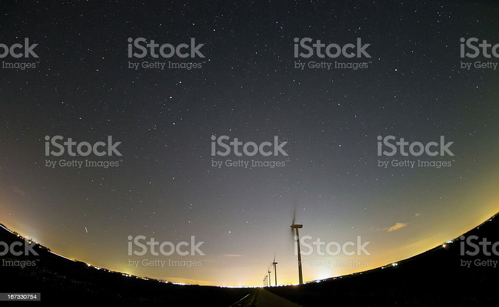 Stars above the wind turbines royalty-free stock photo
