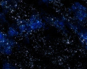 Stars and blue nebula clouds in outer space