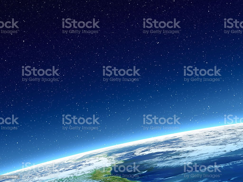 Stars and blue Planet Earth with horizon in deep space stock photo