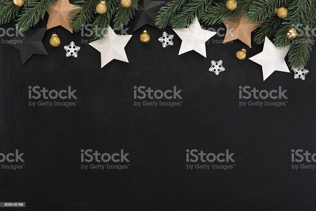 Stars and Christmas ornaments, border design, on backboard background