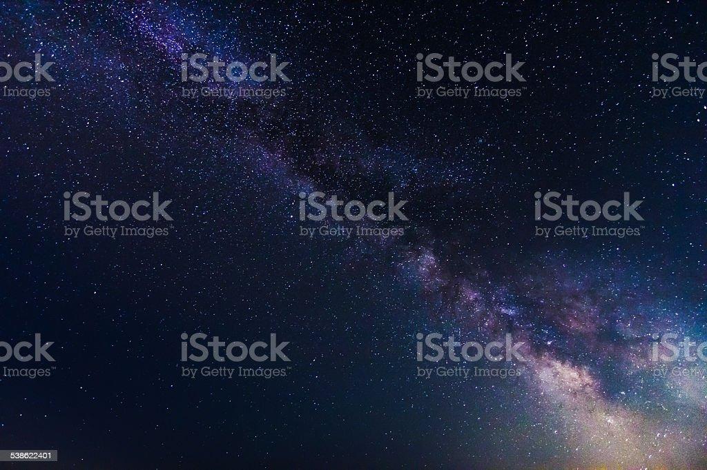 Stars and Milky Way Galaxy on clear dark night sky stock photo