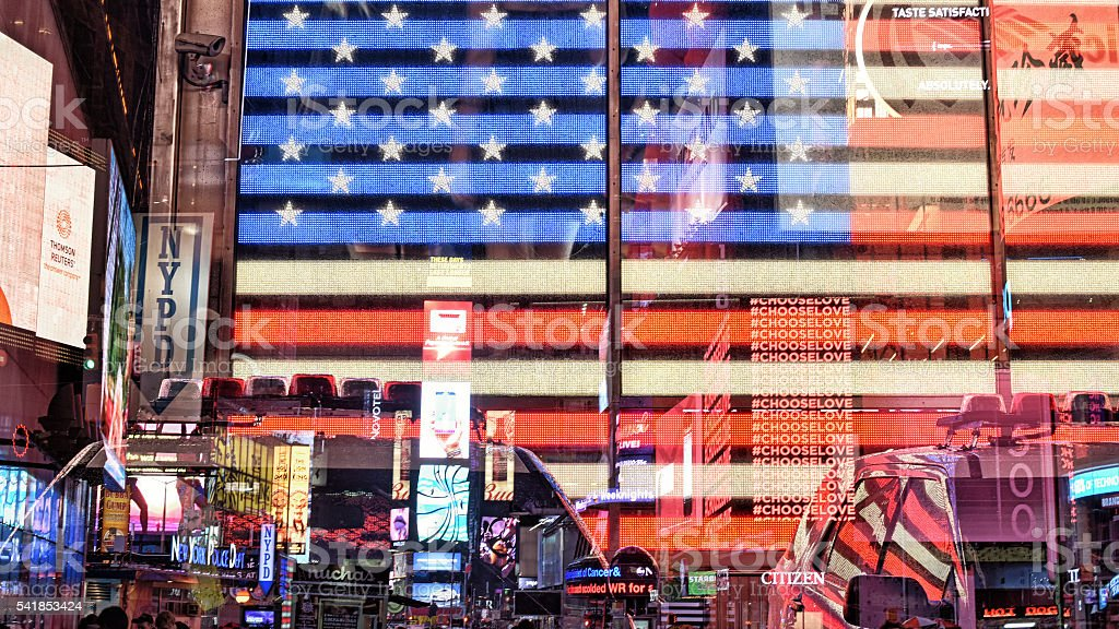 stars and stripes and neon signs stock photo