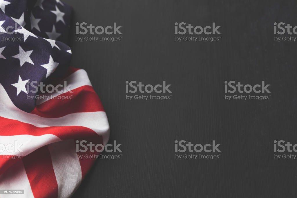 USA stars and stripes flag on a dark chalkboard background stock photo