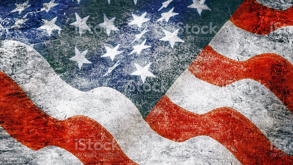 Stars and stripes in grunge style stock photo