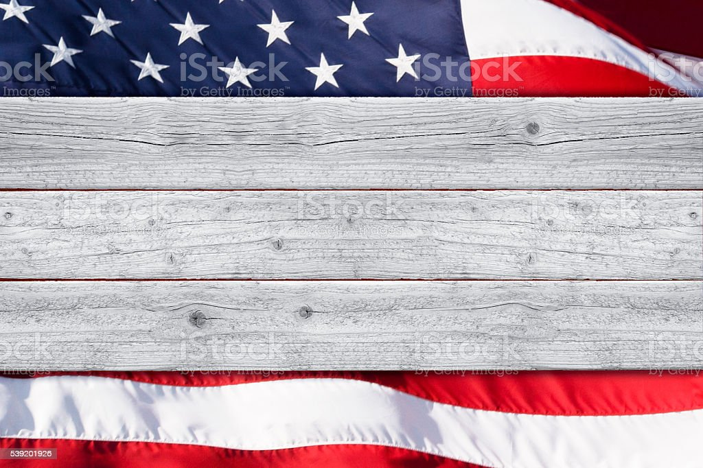Stars and Stripes Patriotic Background with White Wood Foreground stock photo