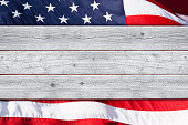 Stars and Stripes Patriotic Background with White Wood Foreground