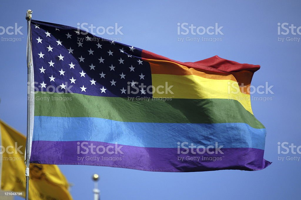 Stars and Stripes Rainbow Flag stock photo