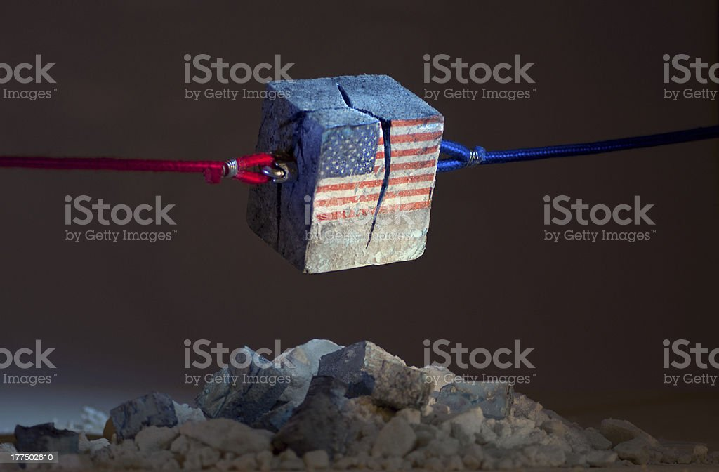 Stars and stripes (USA) tearing Apart stock photo