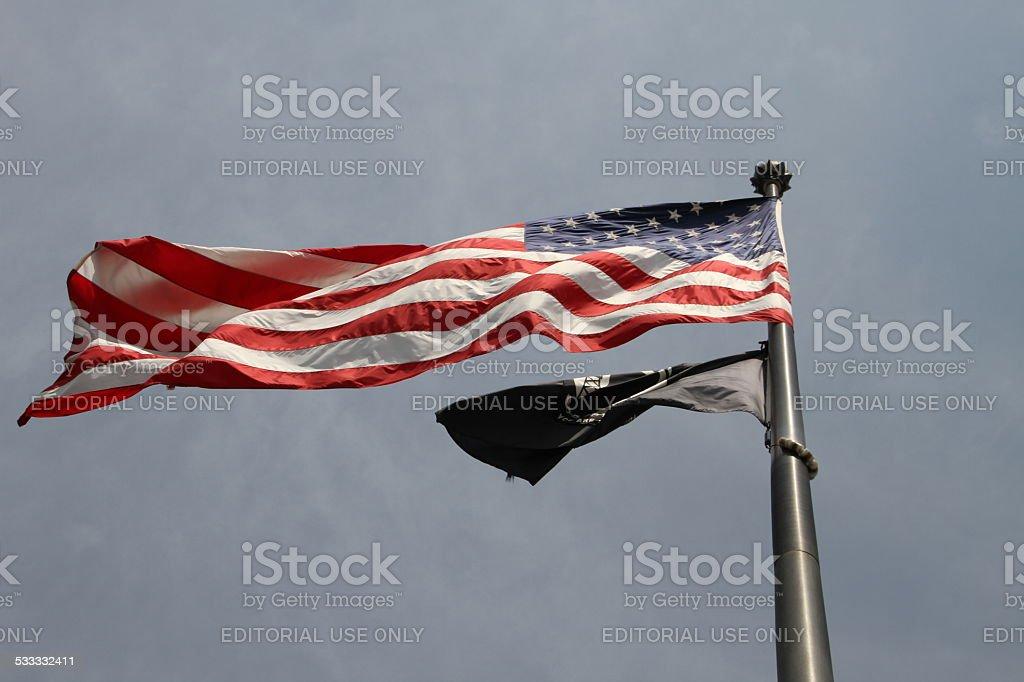 Stars and stripes USA flag on a city street stock photo