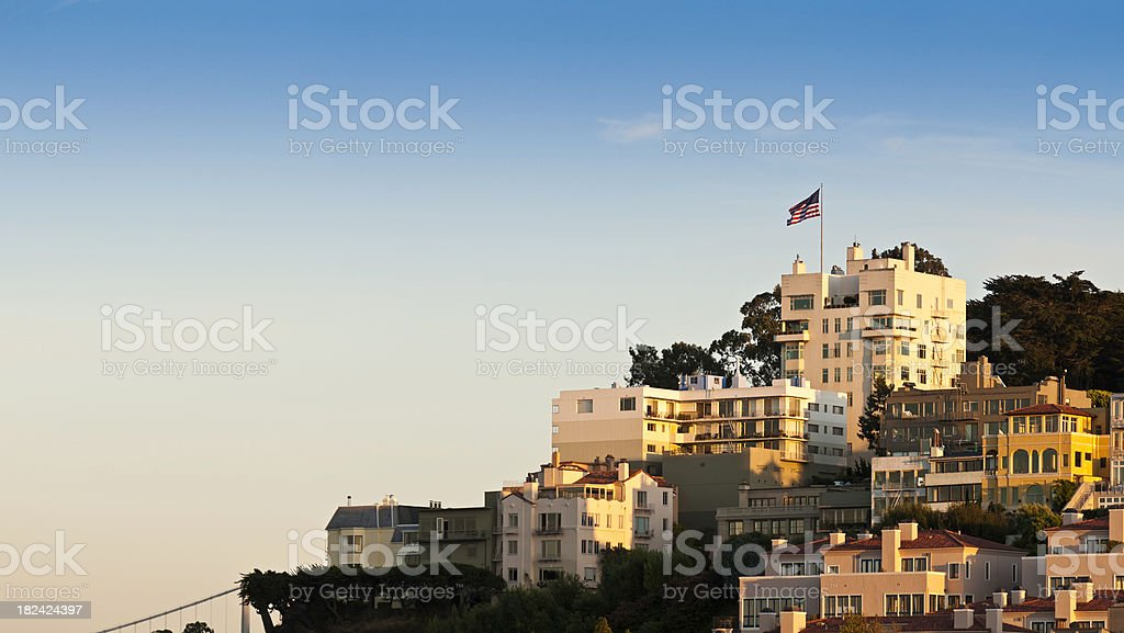 Stars and Stripes villas apartments golden sunset San Francisco California royalty-free stock photo