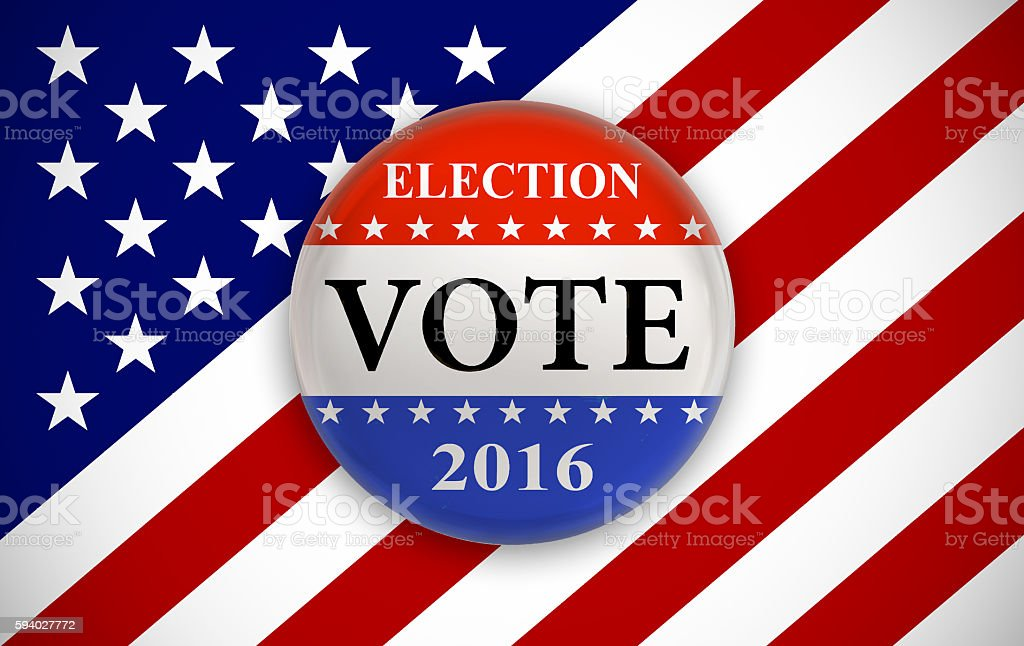Stars and stripes voting badge stock photo