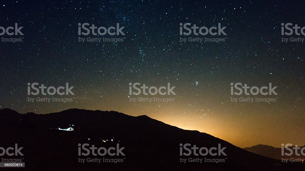 stars and sunrise stock photo