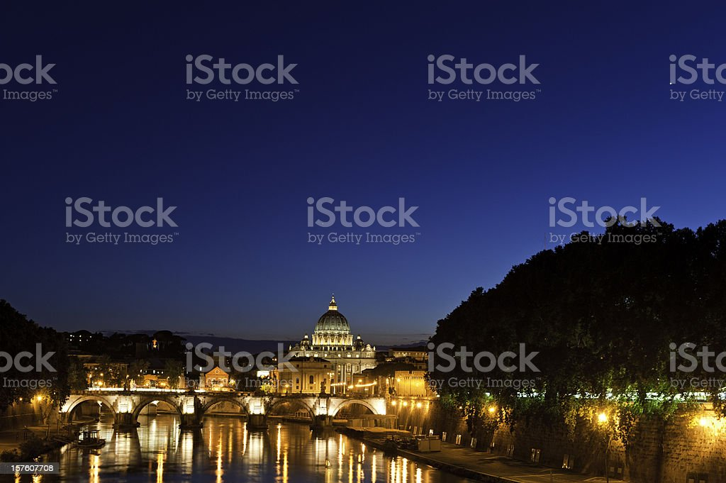 Stars blue sky St Peter's Vatican City Tiber Rome Italy royalty-free stock photo