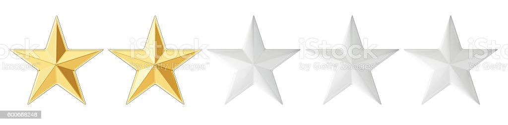 2 stars concept, 3D rendering stock photo