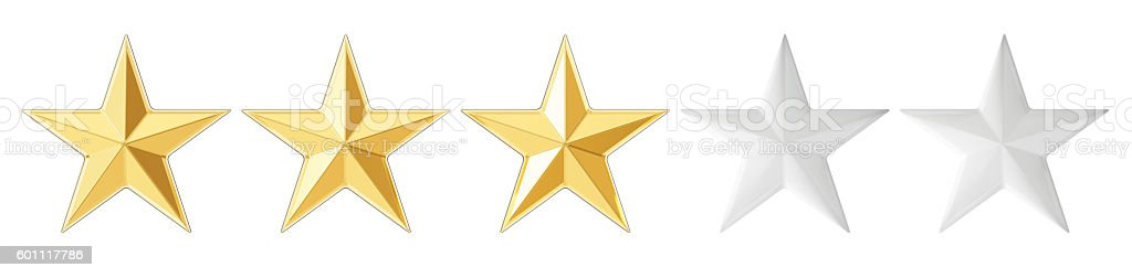 3 stars concept, 3D rendering stock photo