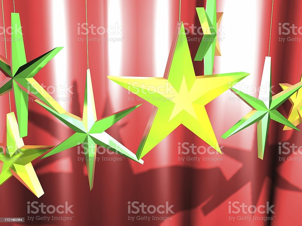 3D Stars In Front of Curtain Background royalty-free stock photo