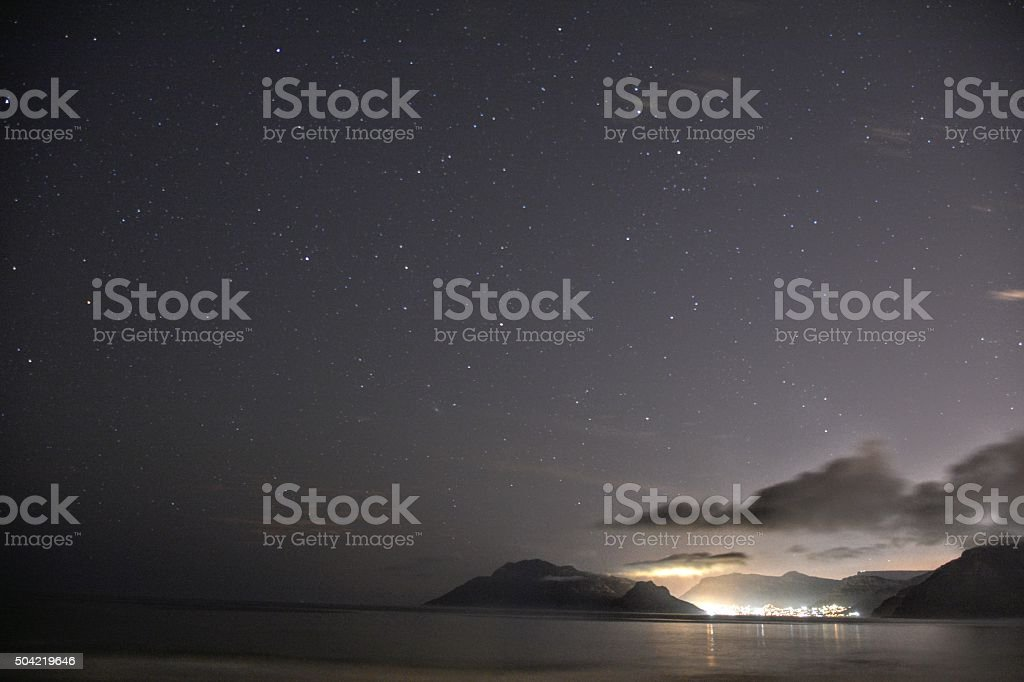 Stars in the Night Sky Above Cape Town stock photo