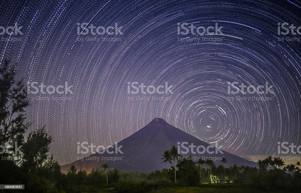 Stars leave tracks. Volkano Mayon. Philippines stock photo