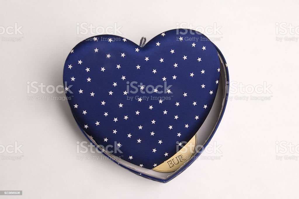 Stars On Blue Heart With Money stock photo