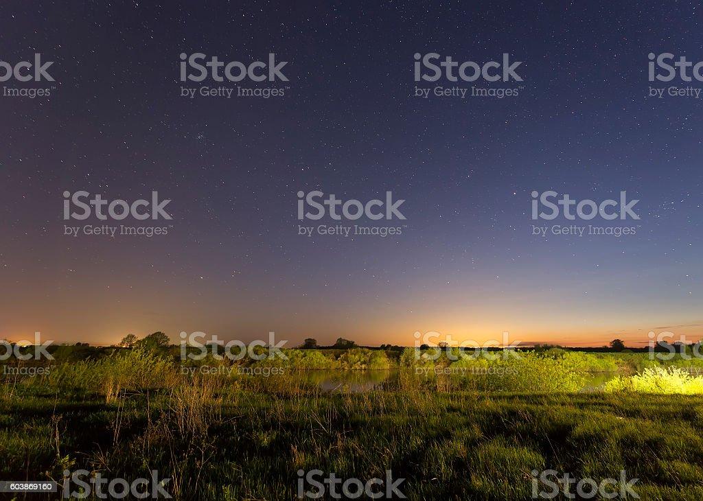 Stars on the sky at night stock photo
