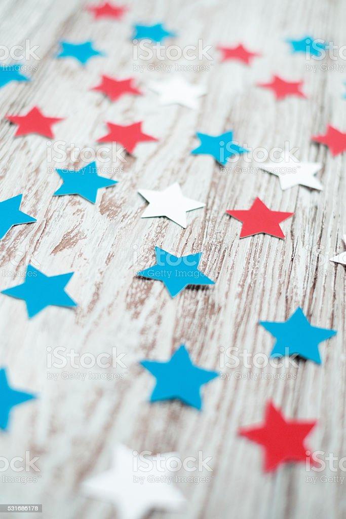 Stars on Wooden plank stock photo