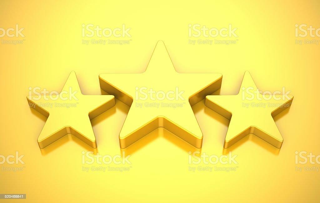 3 Stars on Yellow Background stock photo