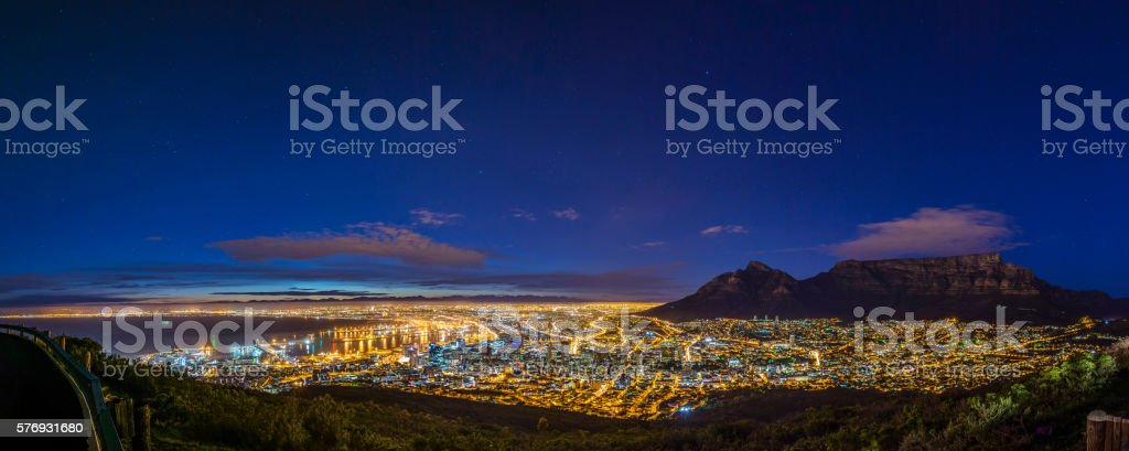 Stars over Cape Town stock photo