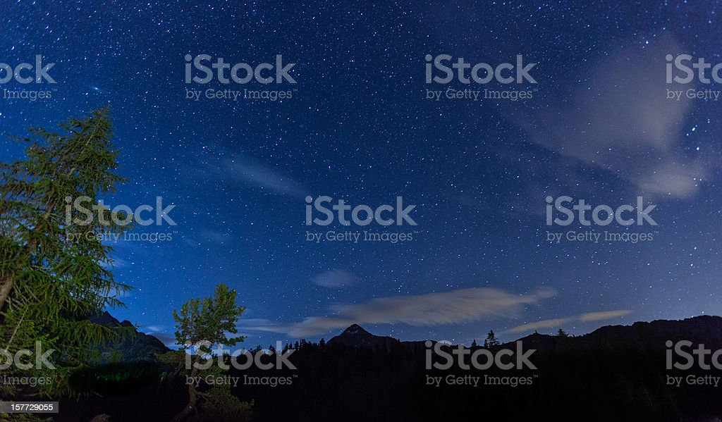 Stars over mountains stock photo