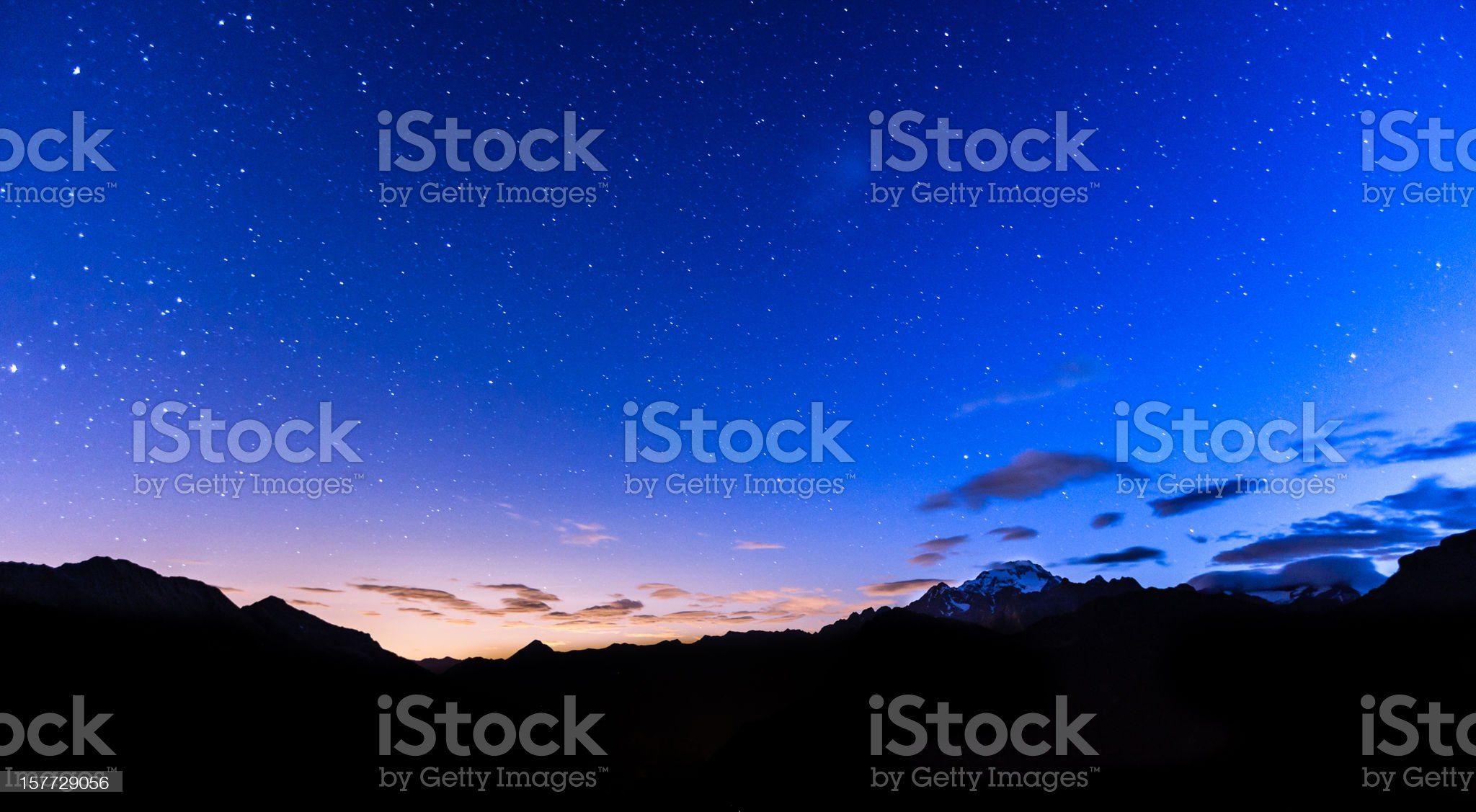 Stars over mountains royalty-free stock photo