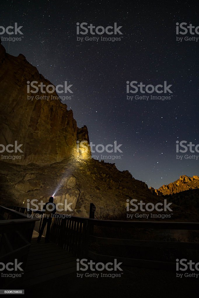Stars over Smith Rock State Park stock photo