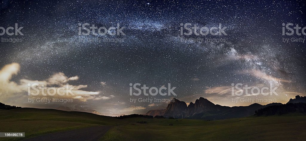 Stars over the mountains stock photo