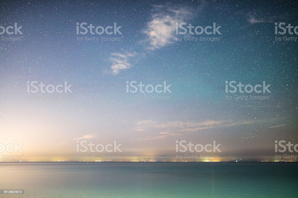 Stars over the sea stock photo