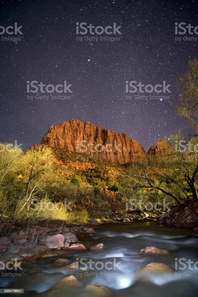 Stars over the Virgin River, UT stock photo