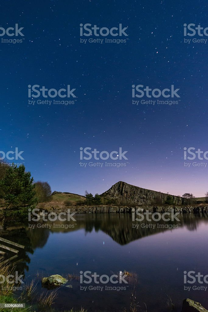 Stars reflect in Cawfield Quarry stock photo