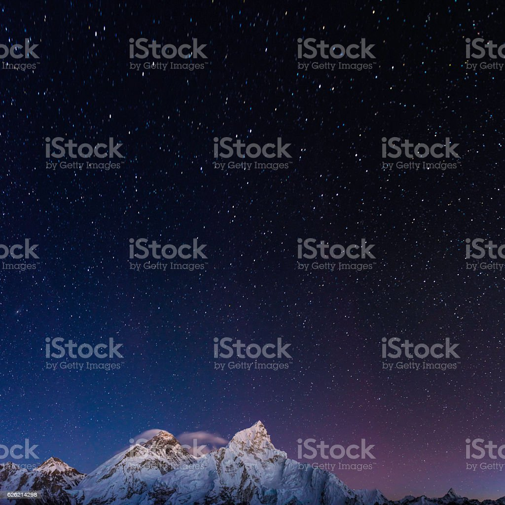 Stars shining above Mt Everest summit Himalaya mountain peaks Nepal stock photo