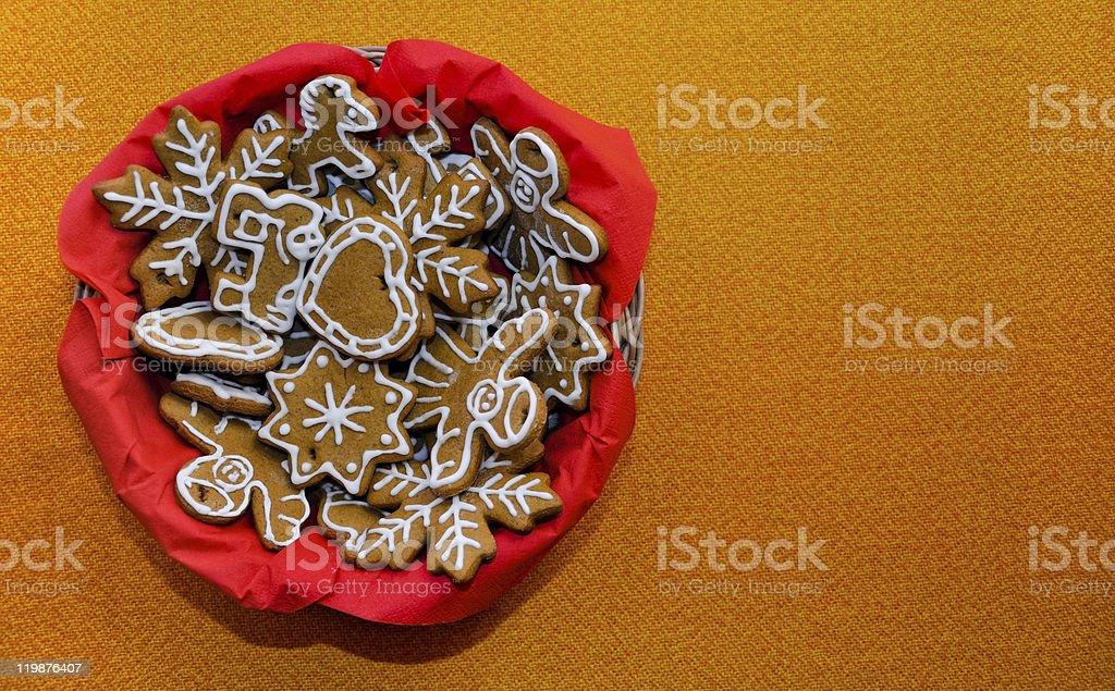 Sternen, Schneeflocken, angels-Weihnachten Lebkuchen-cookies Lizenzfreies stock-foto