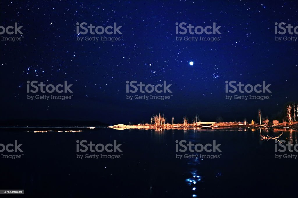 Stars Venus and Pleiades stock photo