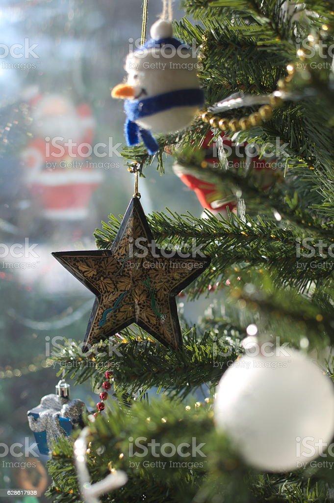 star-shaped christmas ornament stock photo