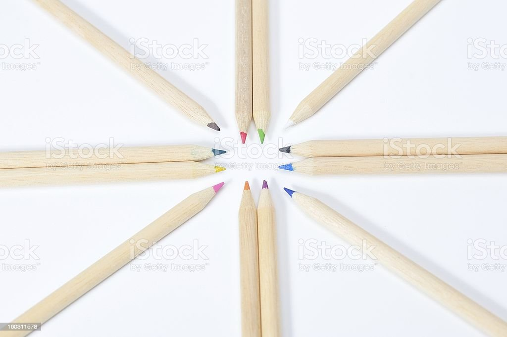 Star-shaped colored pencil royalty-free stock photo