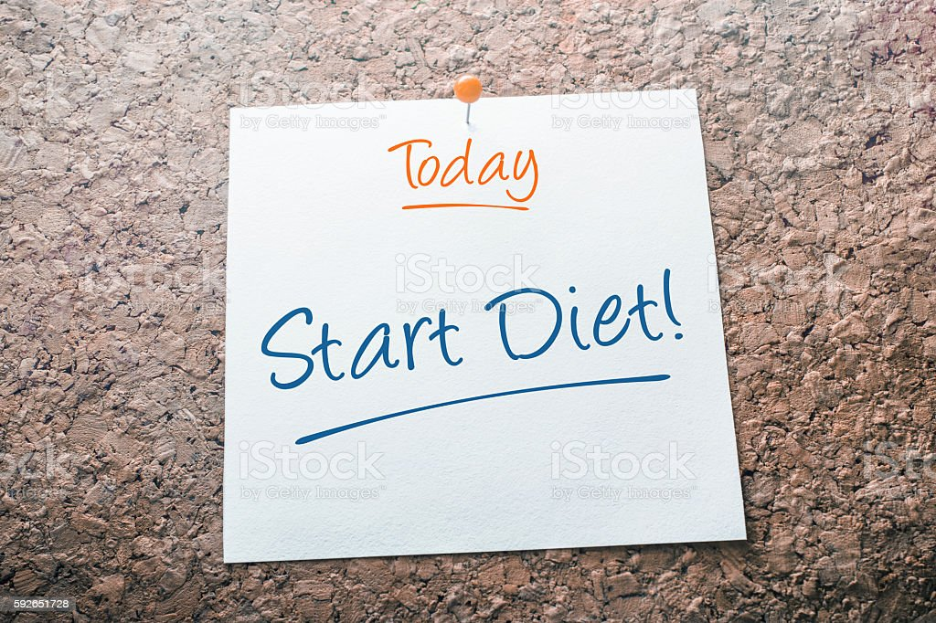 Start Diet Reminder For Today On Paper Pinned On Cork stock photo