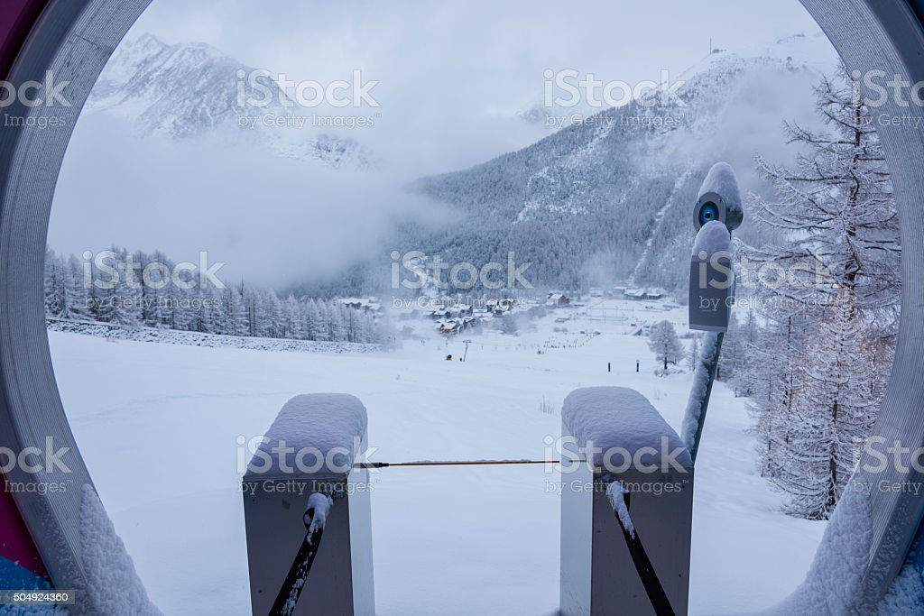 Start gate of a slope run under the snow stock photo