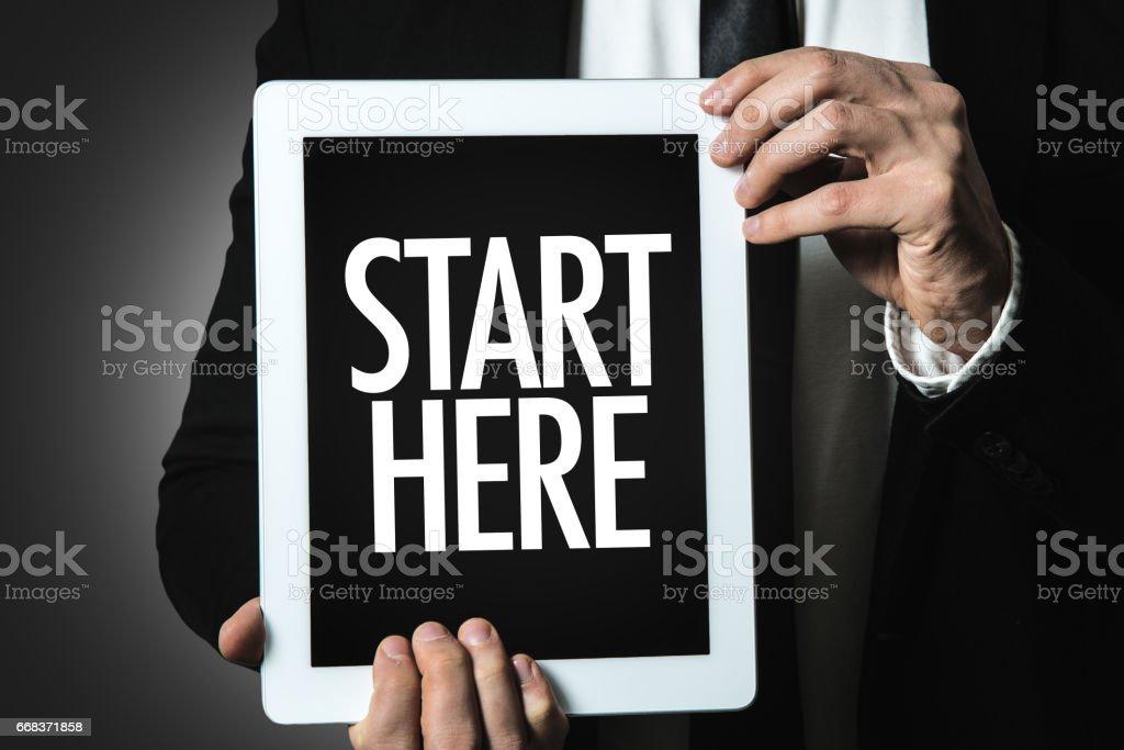 Start Here stock photo