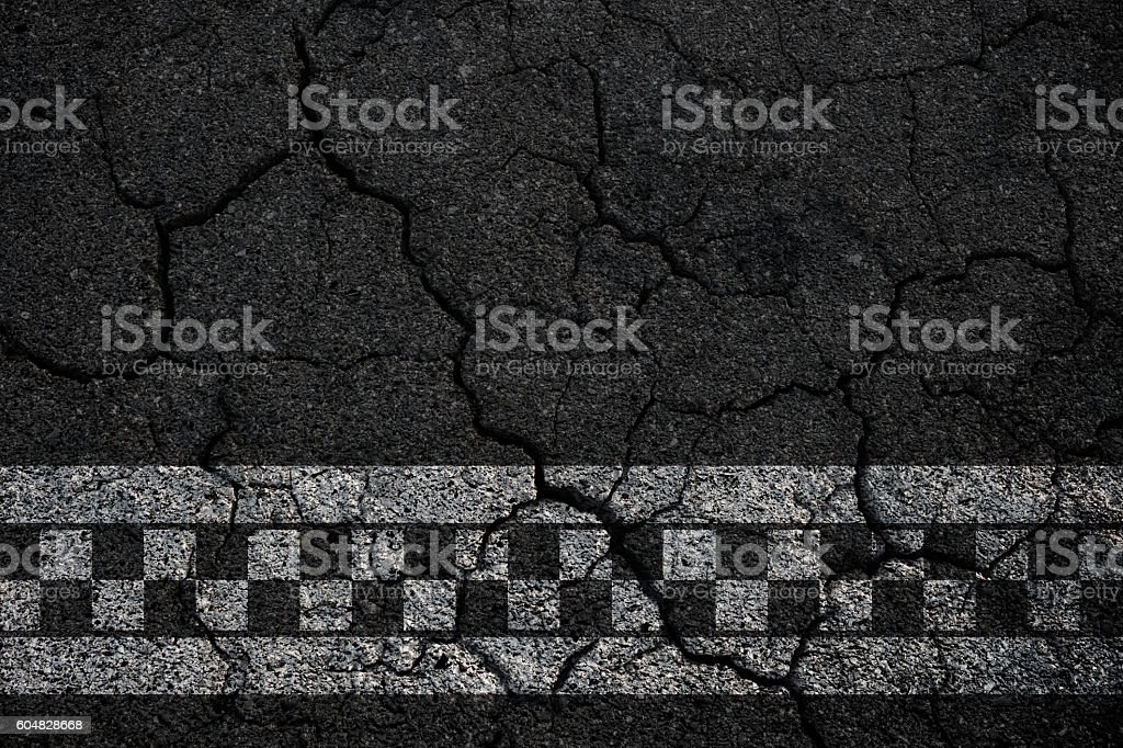 Start line racing crack asphalt textured background. stock photo