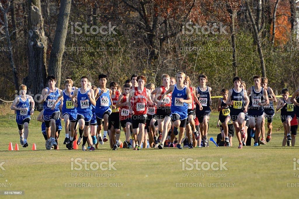 Start of a Boys High School Cross Country Meet stock photo