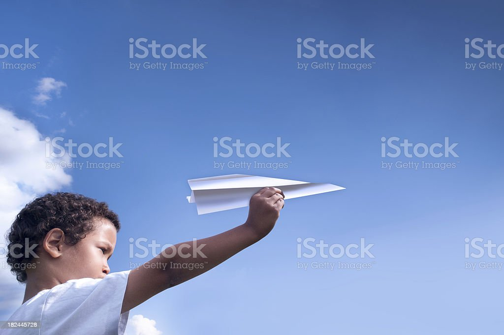 Start of a paper airplane stock photo