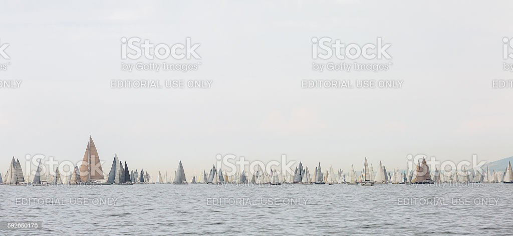 Start of sailing regatta Barcolana 2014 stock photo