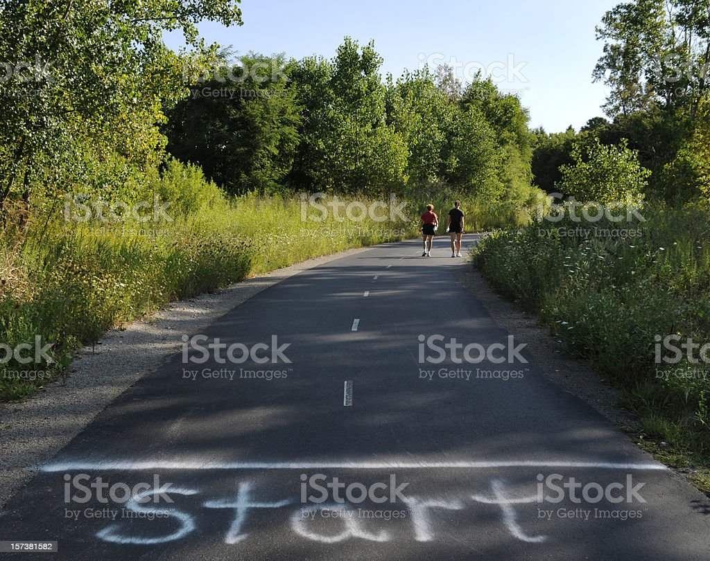 Start! People Walking Outdoors on Park Path, Getting Started. stock photo